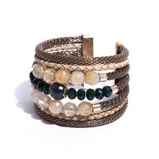 O16.BCT3.1 Bracelete cristais, pedra Quartzo Rutilo, couro, malha de aluinio e metais banhados a ouro