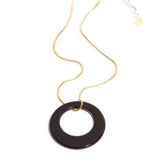 EPS.A2.P Colar pingente com pedra brasileira Ágata preta e corrente banhada a ouro.