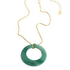 EPS.A2.V Colar pingente com pedra brasileira Átaga verde e corrente banhada a prata ou ouro.