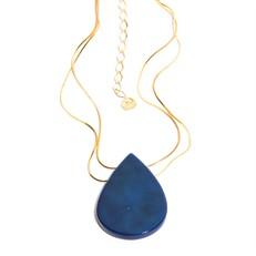 EPS.A3.A Colar curto gota 2 furos pedra Átaga azul e metais banhados a ouro