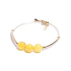 EPP.6.AA.O Pulseira aro pedras Agata amarela e metais banhados a ouro