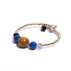 P.J04.A (azul) Pulseira madeira certificada, pedra agata, cristais e metais banhados a ouro