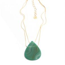 EPS.A3.V Colar curto gota 2 furos pedra Átaga verde e metais banhados a ouro