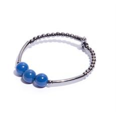 EPP.6.A.G Pulseira aro pedras Agata azul e metais banhados a agrafite