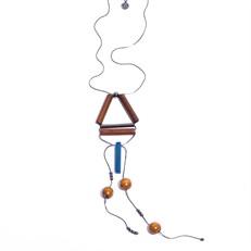 M.C9.A Colar longo geometrico agata azul, madeira e metais grafite