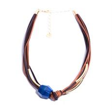 CP.C5.A Colar pedra Ágata azul, couro ecologico caramelo e café, metais banhados a ouro