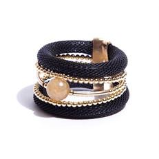 BCTD.8.P (preto) Bracelete malha de aluminio, Pedra Natural Quartzo Rutilo e metais banhados a ouro