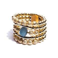 JC.BCT9 Bracelete Pedra Jade Celeste e metais banhados a ouro