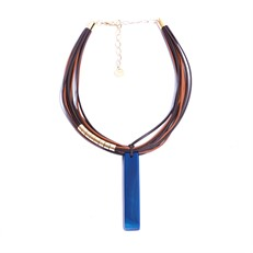 CP.C4.A Colar filetão de pedra Ágata azul, couro ecológico e metais banhados a ouro