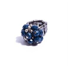 CT.A2 Anel cacho cristais azuis e grafite com metais banhados a paladio