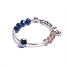 CT.P4 Pulseira mola cristais azuis e fume com metais banhados a paladio