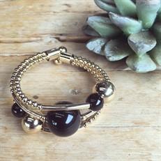 EPP.3.O (Preta) Puls bracelete pedras Ágata preta e metais banhados a ouro