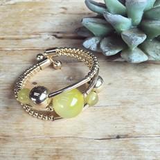 EPP.AA3.O (amarela) Puls bracelete pedras Ágata amarela e metais banhados a ouro
