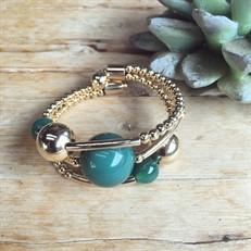 EPP.3.V.O (verde) Puls bracelete pedras Ágata verde e metais banhados a ouro