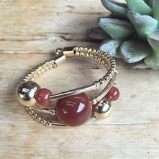 EPP.M3.O (marrom) Puls bracelete pedras Ágata marrom e metais banhados a ouro