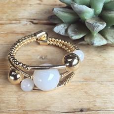 EPP.3.O (branca) Puls bracelete pedras Ágata branca e metais banhados a ouro