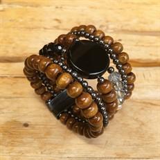 BCT.J03.G (preto) Bracelete contas de madeira certificada, pedra Ágata, cristais e metais banhados a grafite