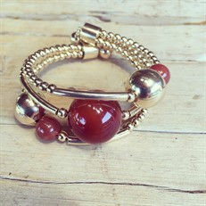 EPP.3.O (opções de cores) Puls bracelete pedras Ágata e metais banhados a ouro