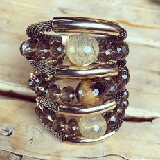 F16.BCT10 (OLHO DE TIGRE) Bracelete pedra Olho de Tigre, Quartzo Rutilo, Cristal e metais banhados a ouro