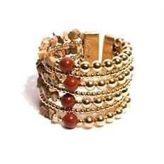 BM.BCT1 Bracelete pedras Jaspe madeira, Jaspe vermelho e metais banhados a ouro