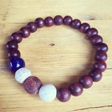 P7.M Pulseira masculina esferas de madeira Pedras naturais Ágata Esponja  e Lápis Lazúli.