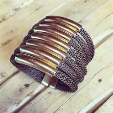 BCTD.9.1 (café) Bracelete malha de aluminio ouro velho e metais banhados a ouro