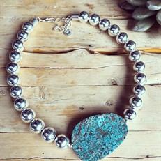 PR.C2 Colar pedra Jaspe Nautica e metais banhados a prata