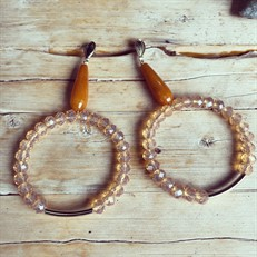 SR.B3.1.O (LARANJA) Brinco pedra Jade laranja, Cristais laranja e metais banhados a ouro