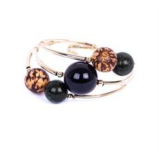SP.BCT12 Bracelete pedras Jaspe verde, pedra Ágata preta, semente de paixubinha e metais banhados a ouro