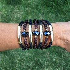 BCT.X120 Bracelete cristais, madeira e metais banhados a ouro