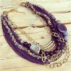 LRL.C31 Colar Golden com fibras naturais, contas de murano, pedra agata, pedra dolomita, pedras muokite em cascalho e metais banhados a ouro