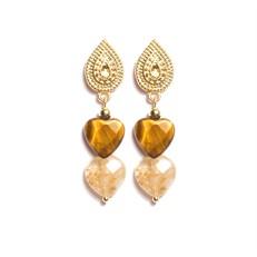 B.X153 Brinco curto coracoes de pedras Olho de Tigre e Quartzo Rutilo e metais banhados a ouro