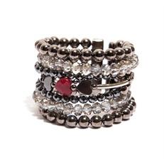 BCT.X154 Bracelete cristais, pedras coracao Jade Rubi e Hematita com metais banhados a grafite