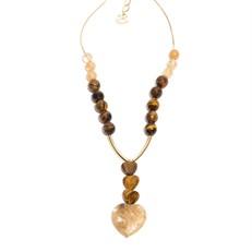 C.X153 Colar médio coracoes de pedras Olho de Tigre e Qtzo Rutilo com metais banahdos a ouro
