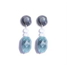 AT.B5 Brinco pedra jaspe celeste, cristais e metais banhados a prata