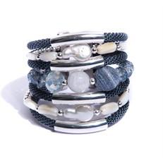 AT.BCT3 Bracelete pedra Jaspe esponja, pedra Opala, Madreperolas, Perolas, cristais e metais banhados a prata e paládio