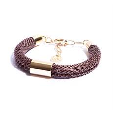 PD.7.R pulseira malha de aluminio rosê e metais banhados a ouro
