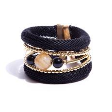 BCTD.6.1P Bracelet malha preta, pedras Quartzo Rutilo e Agata com metais banhados a ouro