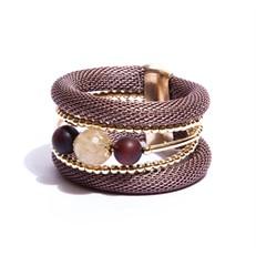 BCTD.6.1R Bracelet malha Rosê, pedras Quartzo Rutilo e Agata com metais banhados a ouro