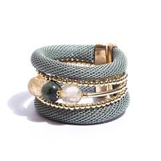 BCTD.6.1V Bracelet malha verde bebê, pedras Quartzo Rutilo e Agata com metais banhados a ouro