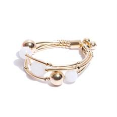 EPP.B3.O (branca) Puls bracelete pedras Ágata branca e metais banhados a ouro