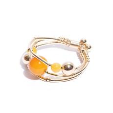 EPP.3.AA.O (amarela) Puls bracelete pedras Ágata amarela e metais banhados a ouro