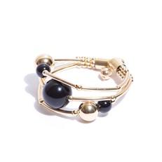 EPP.3.P.O (Preta) Puls bracelete pedras Ágata preta e metais banhados a ouro