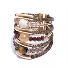 F16.BCT10 Bracelete pedra howlita, Olho de Tigre, Quartzo Rutilo, Cristal e metais banhados a ouro