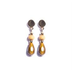M.B4.1 Brinco pedra Olho de Tigre, Madeira e metais banhados a ouro