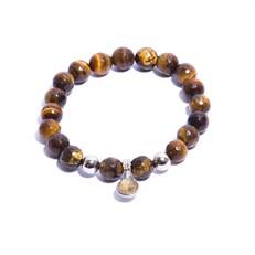 CN.P2.2 Pulseira masculina pedras Olho de Tigre, pedras cascalho e metais paladio