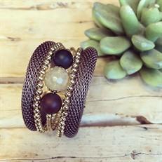 BCT.D6.1 Bracelet malha Rosê, pedras Quartzo Rutilo e Agata com metais banhados a ouro