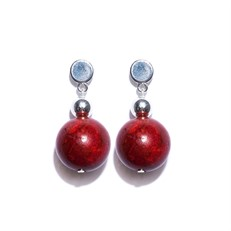 JC.B4 Brinco pequeno pedra Coral esponja vermelho e metais banhados a prata