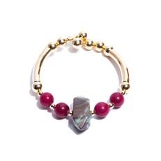 JC.P1 Pulseira pedra Turquesa, pedra Jade pink e metais banhados a ouro