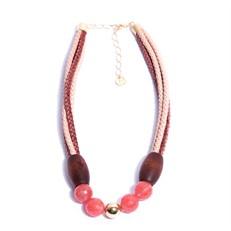 NU.C3 Colar curto pedras Quartzo Cherry, couro trançado, Madeira e metais banhados a ouro